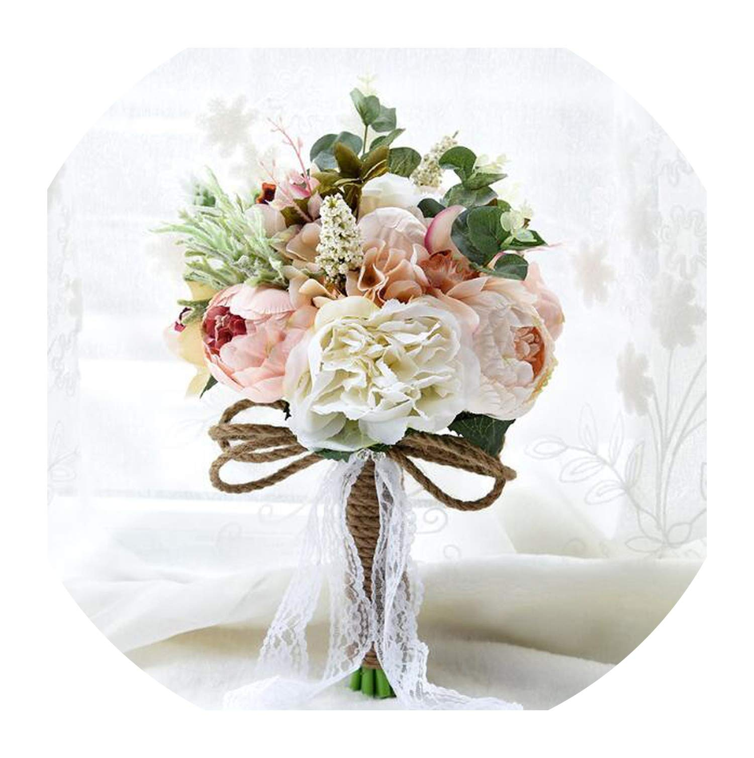 Artificial Flower Gorgeous flower Beautiful Bridal Wedding Bouquet Blue Creamy