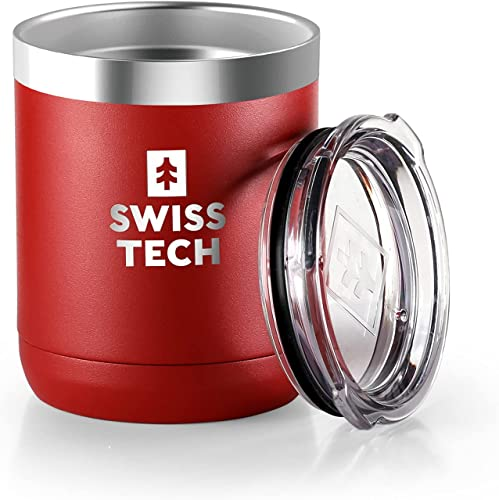SWISS+TECH 10 oz Tumbler, Insulated Tumbler, Double Wall Vacuum, Stainless Steel Tumbler with Lid, Corrosion Resistant, BPA Free (Red)