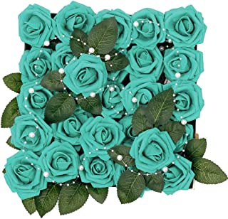 Meiliy 60pcs Artificial Flowers Teal Roses Real Looking Foam Roses Bulk w/Stem for DIY Wedding Bouquets Corsages Centerpieces Arrangements Baby Shower Cake Flower Decorations