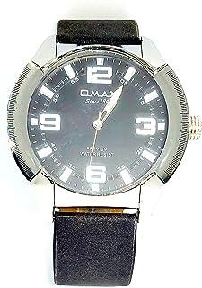 ساعة اوماكس للرجال - رياضية، ربع لتر، مينا اسود - سوار من الجلد - مقاومة للماء - Beeb1230