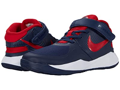 Nike Kids FlyEase Team Hustle D9 (Little Kid) (Midnight Navy/University Red/White) Kids Shoes