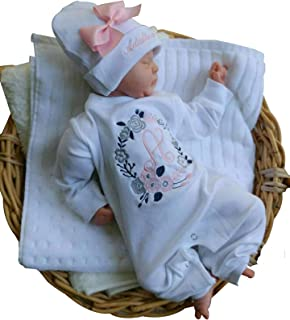 Newborn Baby Girl Coming Home Outfit Floral Personalized Romper with Beanie Whte Pink