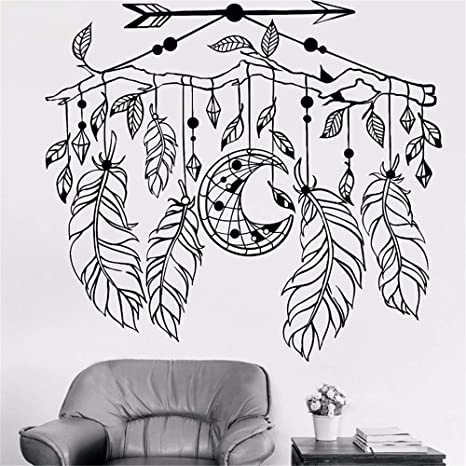 Pikat Vinyl Wall Lettering Stickers Quotes And Saying Arrow Feather Moon Dreamcatcher Exquisite Interior Room Stckers Home Kitchen
