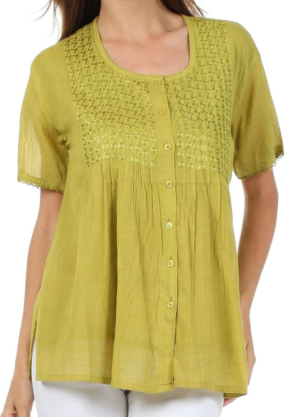 Sakkas Button Down Embroidered Short Sleeve Semi-Sheer Gauzy Cotton Top/Blouse