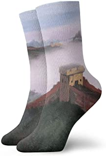 Unisex High Ankle Cushion Crew Socks Great Wall Painting Casual Sport Socks