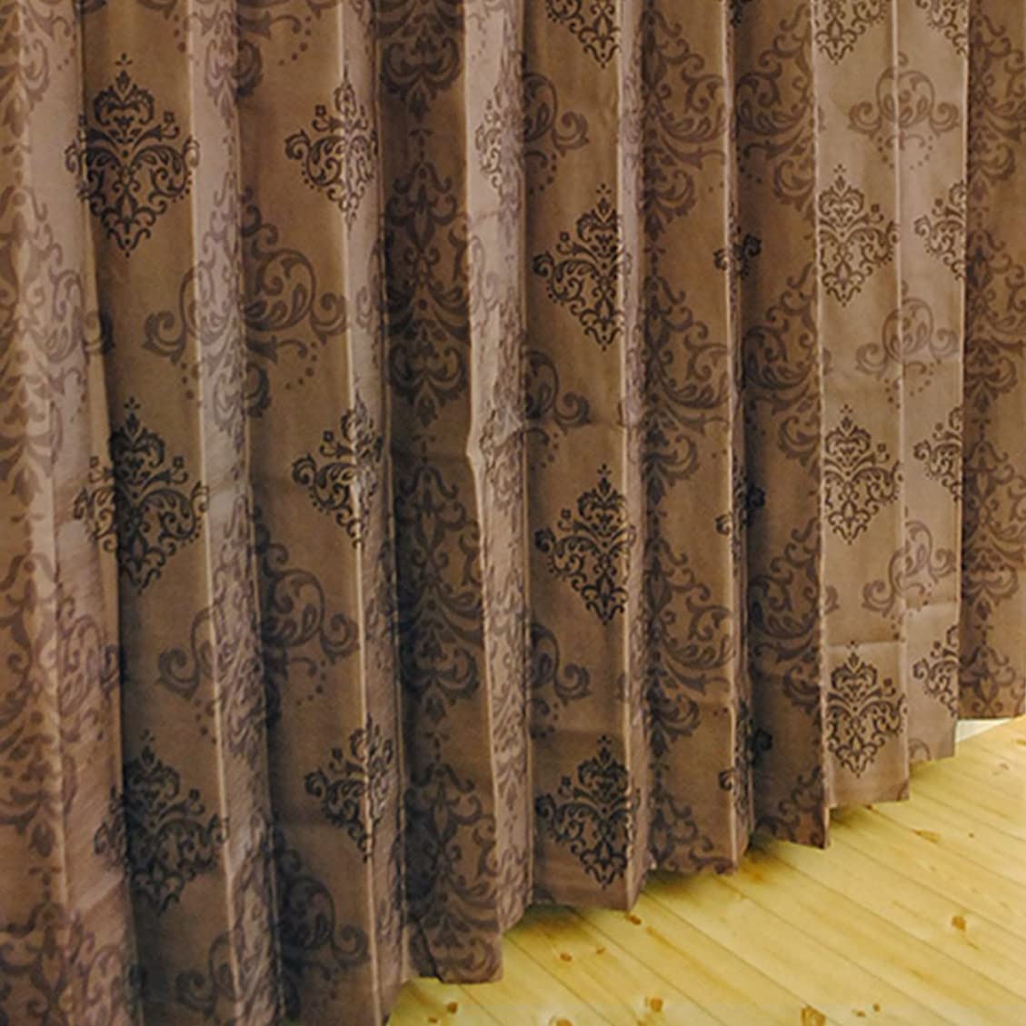 もろい合成完全に【???????????】 裏地 付き 2級 遮光 形状 記憶 二重 カーテン 『 ???? 』 幅120cm × 丈250cm 1枚 ( Aフック ) オーナメント 柄 ブラウン