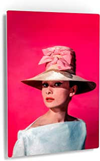 Smile Art Design Audrey Hepburn Wall Art Metal Print Pretty Hat with Ribbon Pink Background Iconic Decoration Bedroom Living Room Wall Art Vintage Home Decor - Ready to Hang Made in USA - 40x30