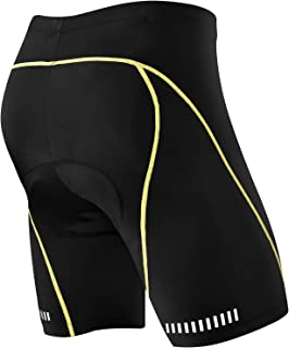 (New Year New Gear) NOOYME Men's Cycling Shorts with 3D Padded Jet Black with Color Block Design Bike Shorts