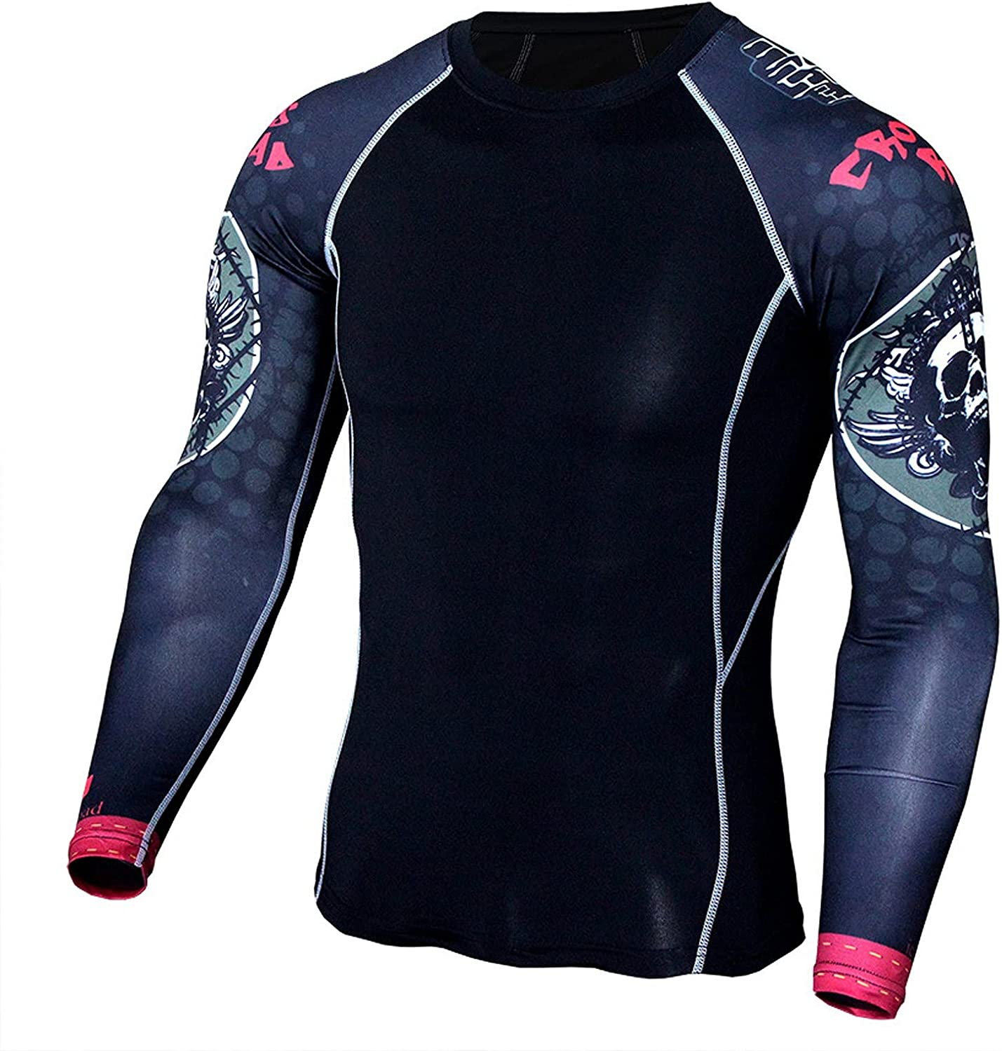 JSPOYOU Men's Long Sleeve Compression Shirts Top Sports Workout Running Athletic Gym Base Layer Dry Cool Top