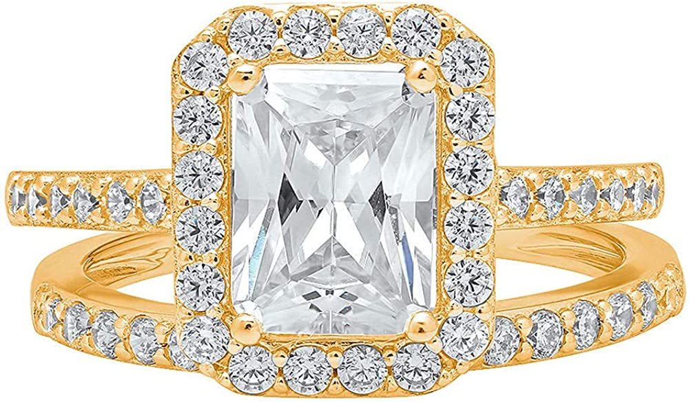 2.14ct Emerald Round Cut Pave Halo Id 買い物 お気にいる Solitaire with VVS1 Accent