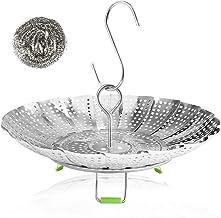 Vegetable Steamer Basket Stainless Steel Collapsible Steamer Insert for Steaming Veggie Food Seafood Cooking, Metal Handle...