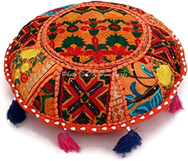 DK Homewares Indian Ethnic Floor Pillow Cover Bohemian Orange 18 Inch Patchwork Living Room Ottoman Stool Home Decor Embroide