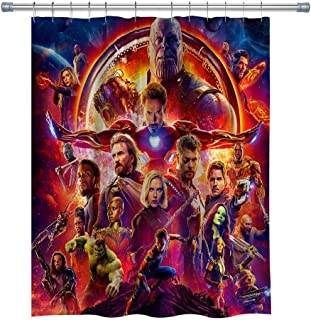 Avengers: Infinity War Shower Curtains,Thanos Iron Man Captain America Thor Waterproof Polyester Fabric Bathroom Curtain, Decor Shower Curtain Set Hooks Included, 71X 71 in
