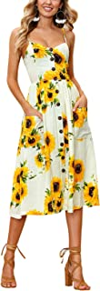 Women's Dresses Casual Summer Floral Sunflower Button Down with Pockets S-2XL