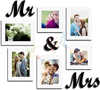 Art Street Together Forever Set of 6 Individual Wall Photo Frames with Mr & Mrs MDF Plaque - White