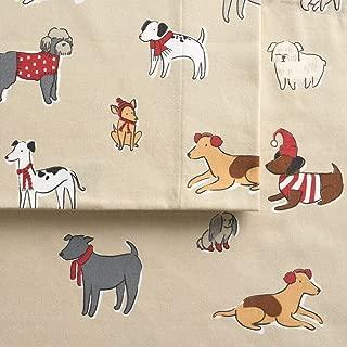 Cuddl Duds Twin Flannel Sheet Set 3 Piece 100% Cotton Deep Pocket Heavyweight Single Bed Sheets - Playful Pups