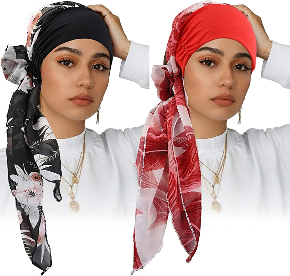 2 Pieces Headwear Head Wrap Soft Scarves Cap Womens Hat Turban Head Scarves Pre-Tied Headwear Elastic Band (leaf wine red+black big flower)