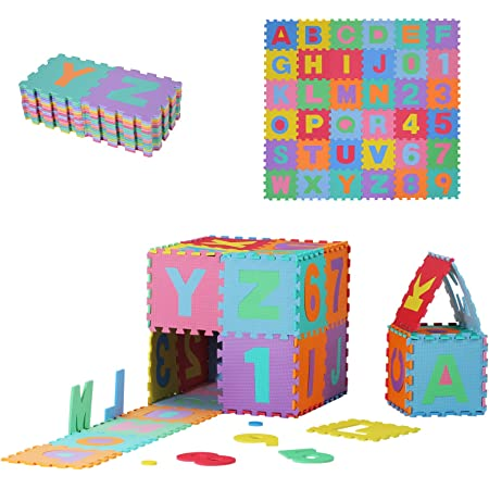 HOMCOM Tapis de Sol en Mousse Tapis Puzzle interconnectables dim. 31L x 31l x 1H cm 36 pièces Grande Surface 3,24 m² Multicolore