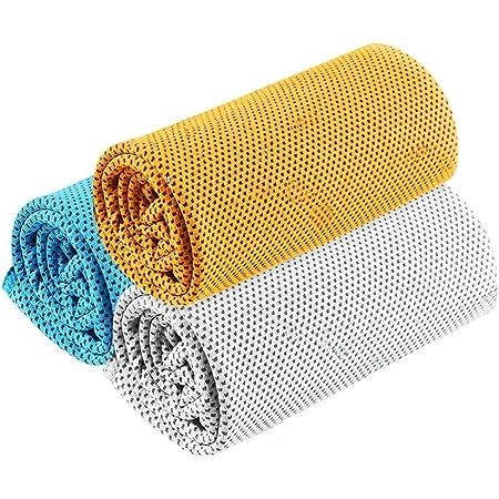 スポーツタオル 冷却タオル (3枚セット) [UVカット・超冷感・吸水速乾・軽量] 防水袋付き 速乾タオル 日焼け防止 熱中症対策 スポーツ 運動会 アウトドア フィットネス タオル 3色