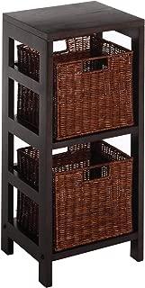 Winsome Wood Leo Wood 2 Tiered Shelf with 2 Rattan Baskets