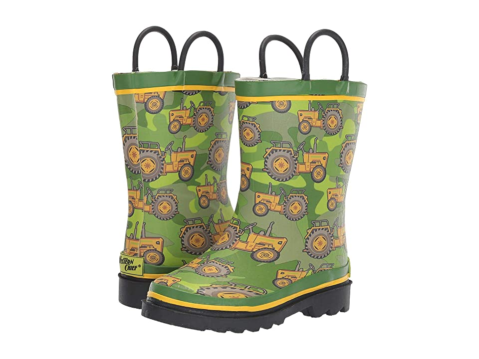 Western Chief Kids Vintage Tractors Rain Boot (Toddler/Little Kid) (Green) Boys Shoes