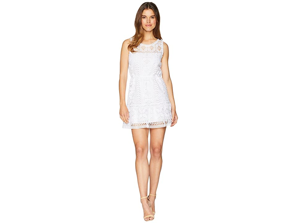 BB Dakota Sandra Lace Fit and Flare Dress (Optic White) Women