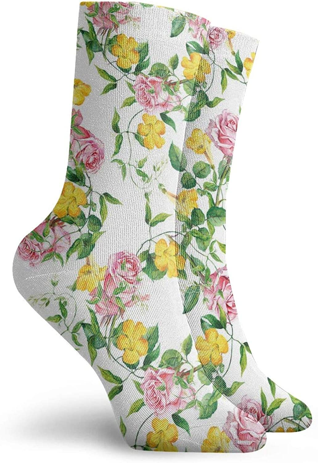 Compression High Socks-Flourishing Bindweed And Pink Roses Leaves Botanical Nature Best for Running,Athletic,Hiking,Travel,Flight