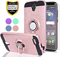 ZTE ZMAX Grand LTE/Grand X3/ZMAX Champ/Warp 7/Avid 916/Z959 Case with HD Phone Screen Protector,Ymhxcy 360 Degree Rotating Ring & Bracket Dual Layer Resistant Back Cover for ZTE N9519-ZH Rose Gold