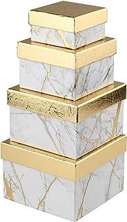 Boîte Cadeau Carrée en Papier avec Couvercle - Petite Boîte de Rangement - 4 Tailles Assorties - Convient pour Cadeaux, De...