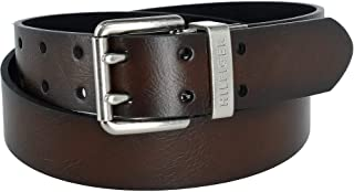 Tommy Hilfiger Mens Reversible Two Hole Double Prong Bridle Belt Brown Black