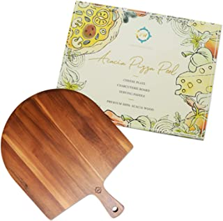 Acacia Wood Pizza Peel -  Cheese, Fruit, or ers Tray - Charcuterie Board - Spatula for Baking - Farmhouse Wall Decor - Bre...