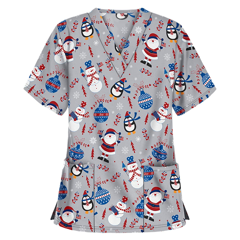 T/única de cuidado de la salud de las mujeres de la t/única uniforme de Navidad impreso Tops manga corta Navidad camiseta enfermeras uniforme trabajo traje Hospital ropa de trabajo m/édico Top