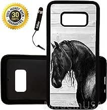 Custom Galaxy S8 Case (Black Horse on Wood) Edge-to-Edge Rubber Black Cover Ultra Slim | Lightweight | by Innosub