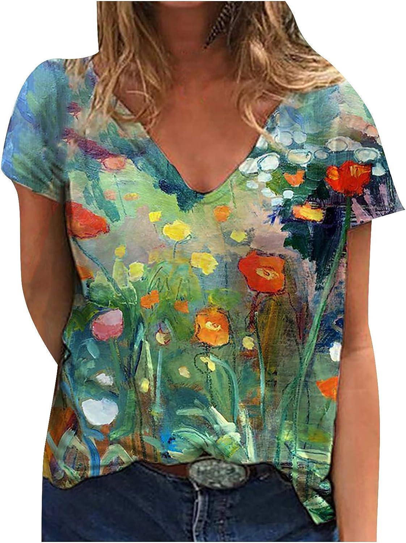Women's Summer Short Sleeve Blouses Plus Size V Neck Floral Casual Tops Fashion Print Shirts Dressy Comfy Sweatshirt