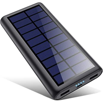 2020年最新版 モバイルバッテリー ソーラー 26800mAh ソーラーチャージャー 大容量 ソーラー充電器 急速充電 2USB出力ポート 地震/災害/旅行/出張/アウトドア活動など iPhone/iPad/Android各種対応 黒