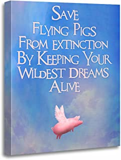 TORASS Canvas Wall Art Print Pink Where Save Flying Pigs Fly Artwork for Home Decor 12