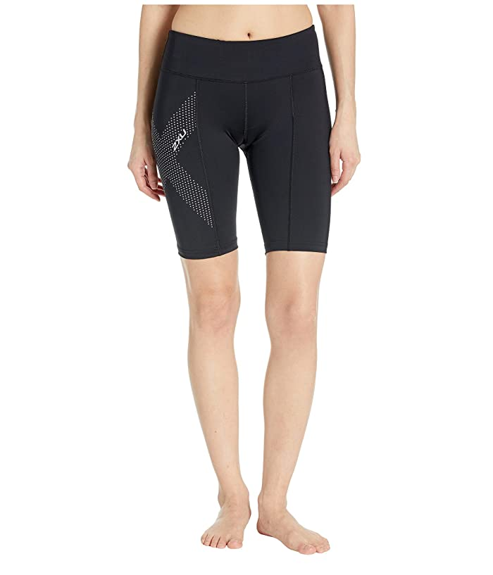 2XU Mid-Rise Compression Short (Black/Dotted Reflective Logo) Women