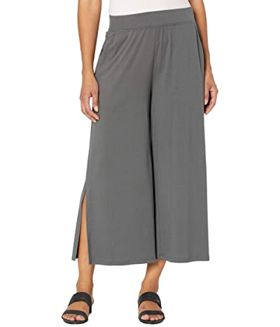 Eileen Fisher Fine Jersey Wide Leg Cropped Pants with Side Slits (Slate) Women