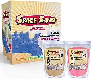 Space Sand 1.8 kg con 50 Piezas de Formas, números, Letras, Piezas de Castillos, Herramienta de Modelado, Arena mágica cinética, Probada por el TÜV, Modelo 2020 (0.9kg Marron y 0.9kg Rosa)