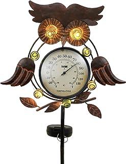 أضواء شمسية لحديقة البومة المعدنية 99.06 سم من تيريزا كوليكشنز، أوتاد البومة الشمسية المزخرفة مع ميزان حرارة خارجي لتزيين ...