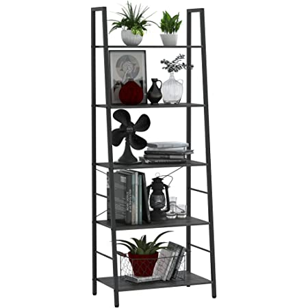 Yusong Ladder Shelf,Industrial 5-Tier Bookshelf,Free Standing Bookcase,Utility Organizer Shelves for Plant Flower ,Wood Look Accent Furniture with Metal Frame for Home Office, Grey