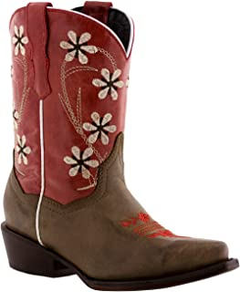 Girl's Kids Red Brown Youth Floral Leather Cowgirl Boots Snip 2 Youth