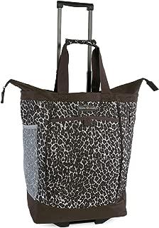 Pacific Coast Signature Large Rolling Shopper Tote Bag, Leopard