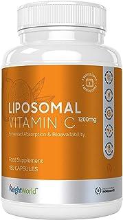 Vitamina C Liposomal 1200mg Dosis Alta - Refuerza Sistema Inmunológico, Vitamina C Pura de Alta Absorción, Antioxidante Natural, Reduce Cansancio Y Fatiga, Con Ácido Ascórbico, 180 Cápsulas Vegano