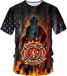 Thin Red Line Firefighter T Shirts for Men Unisex 3D Printed Short Sleeve Tee Shirts Mens