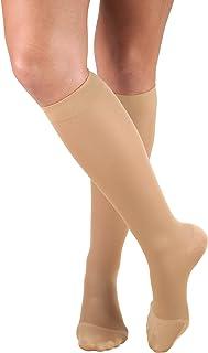 Truform Women's Compression Stockings, 20-30 mmHg, Knee High Length, Closed Toe, Opaque, Beige, Medium