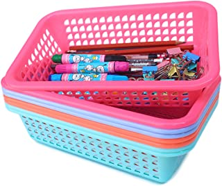 Honla Rectangular Small Plastic Storage Baskets Organizer,Set of 8 in 4 Assorted Colors,Pink,Teal,Blue,Orange