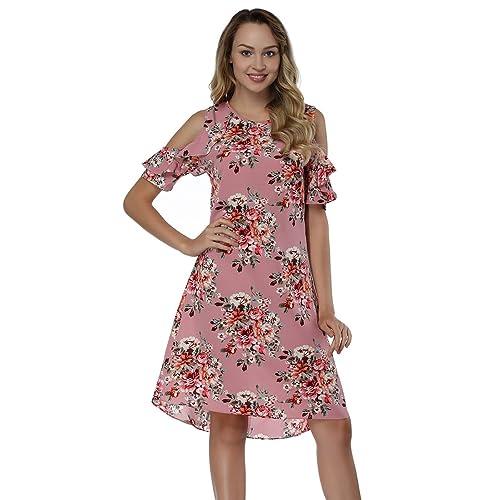 69a830303e BOHISEN Women's Summer Floral Print Cold Shoulder Casual Swing Tunic Dress