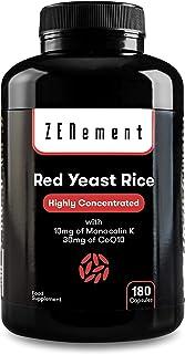 Riso Rosso Fermentato (Lievito di Riso rosso) con 10 mg di Monacolina K e 30mg di Coenzima Q10, 180 Capsule   Vegan, senza...