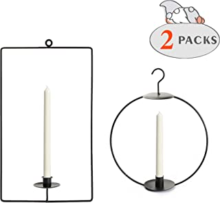 ITOMTE Swedish Scandinavian Design, Black Iron Hanging Candle Holder, Geometric Circle/Rectangle Candelabra Candlestick, Home Decor, Winter Wall Ornament, Christmas Decorations, 2 Packs